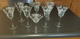 8 Beautiful Etched Water Wine Goblets Fostoria Cambridge Heisey - $29.69