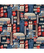 All-American Road Trip-Gas Station Icons-Tan B/G-BTY-Studio E-Route 66 - $11.95
