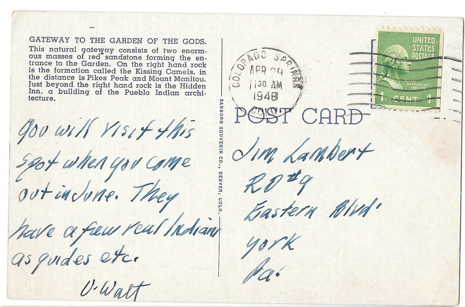 CO Pikes Peak Gateway Garden of the Gods Vintage Postcard Colorado