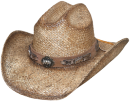 Bullhide Cold Blooded Raffia Straw Cowboy Hat  Shapeable Horse Conchos N... - $62.00