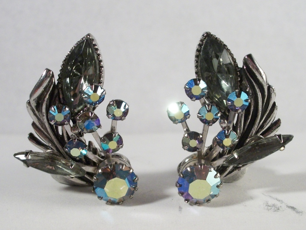 Unsigned Beau Jewels concave marquis ab topaz ab stones layered gun metal 4156