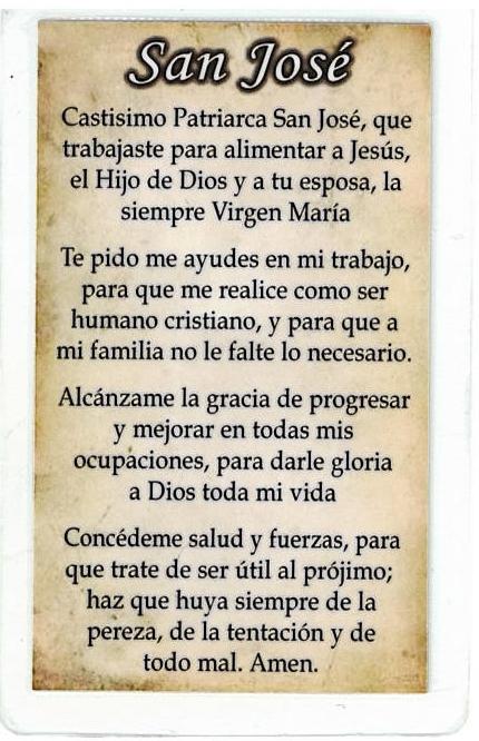 Laminated Prayer Card - San Jose - L300.0003