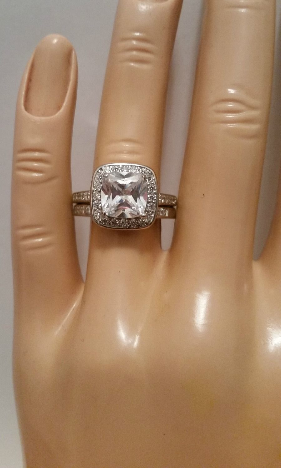 Sterling Silver Wedding set size 9 CZ Engagement ring Halo Band New 925 w47