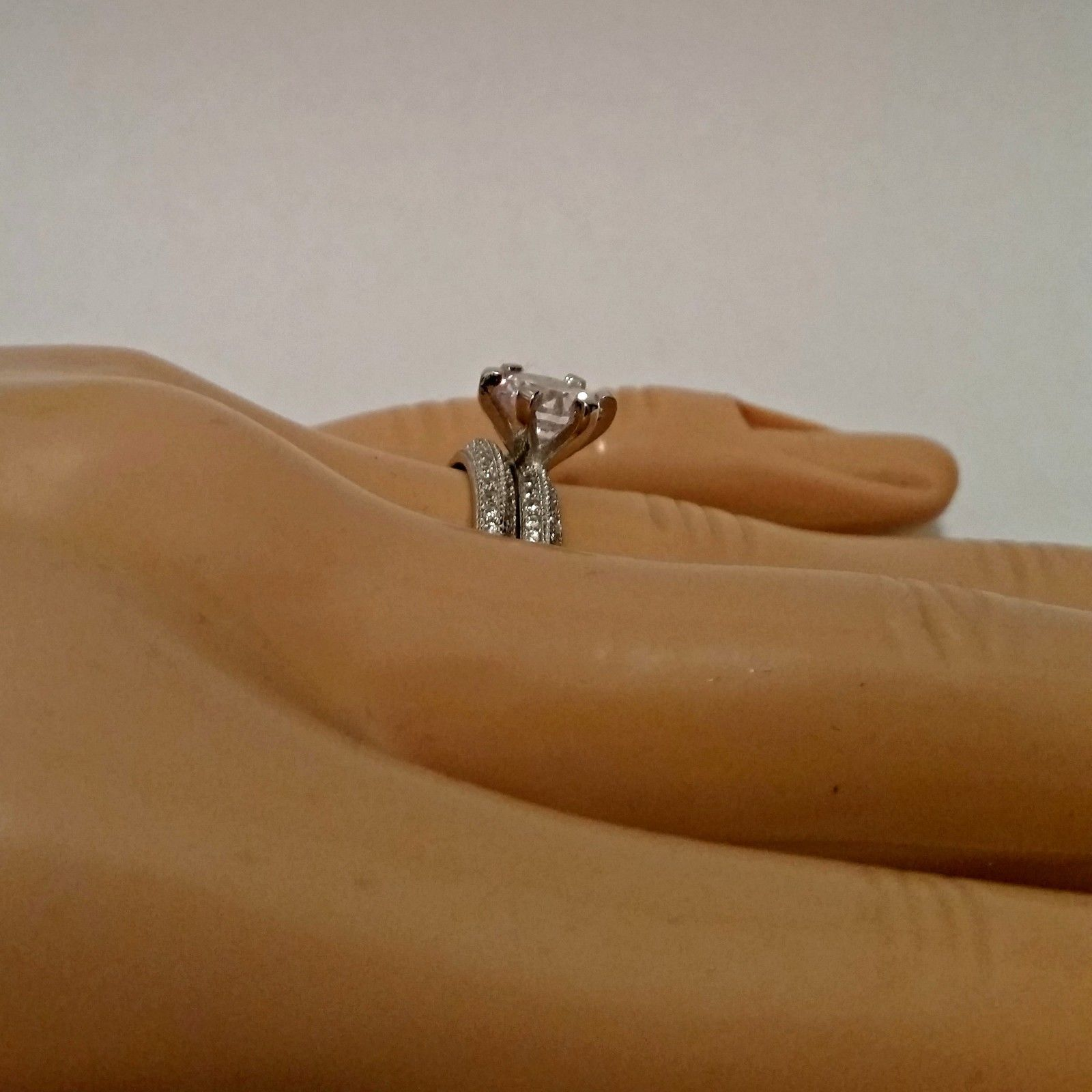 Sterling Silver Wedding set size 5 CZ Round cut Engagement Ring Bridal New w84