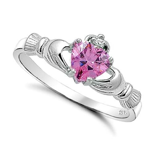 Sterling Silver Claddagh ring size 10 CZ Heart Crown Irish Pink Topaz New r05