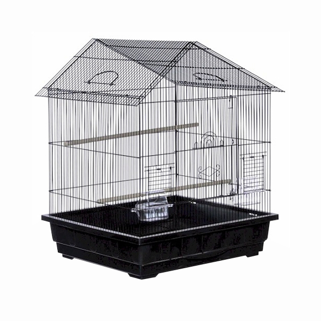 Prevue Hendryx Offset Roof Parakeet Cage - Black 961-PP-25211-B
