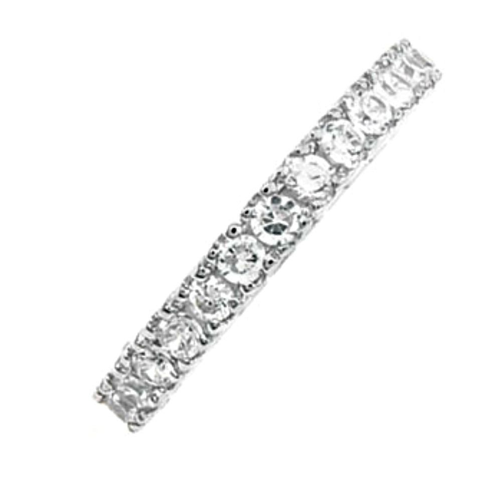 Sterling Silver ring size 4 CZ Eternity Round cut Wedding Band Engagement v45