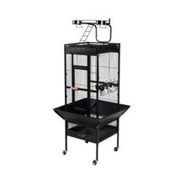 Large Select Wrought Iron Play Top Bird Cage - Black 961-PP-3153BLK