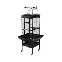 Large Select Wrought Iron Play Top Bird Cage - Black 961-PP-3153BLK - $466.78