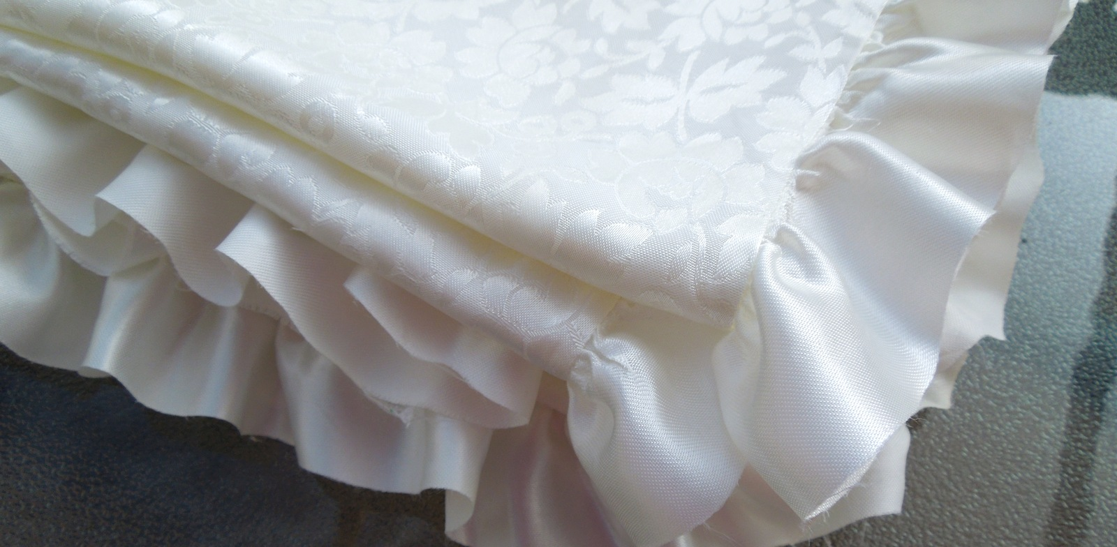 Antique Satin Damask White Baby Blanket and Pillow Sham  #4870