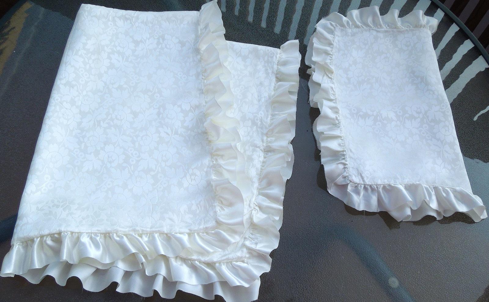 My closet  antiq satin damask white baby blanket and sham see lot 3.09 8 19 13 cl ca 7 oz  4870 f