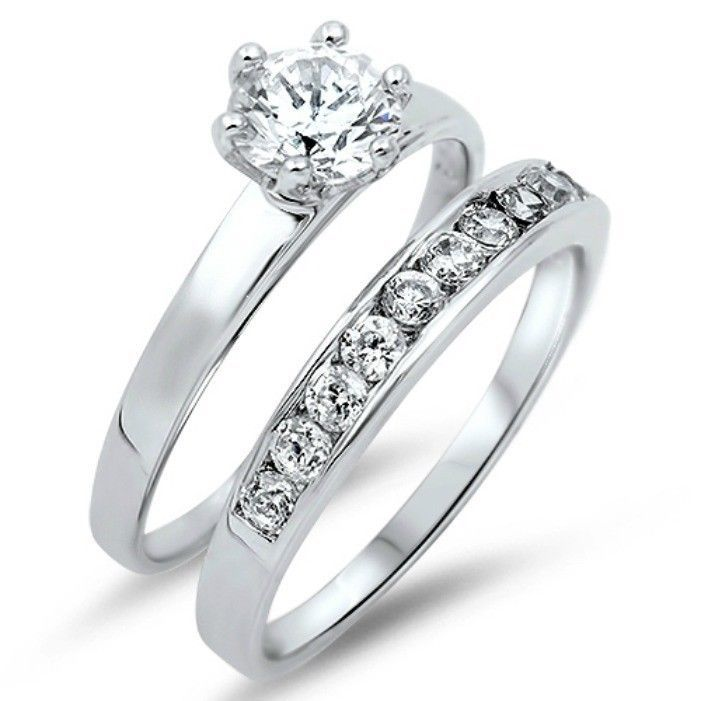 Sterling Silver Wedding set size 5 CZ Round cut Engagement Ring Bridal New w36