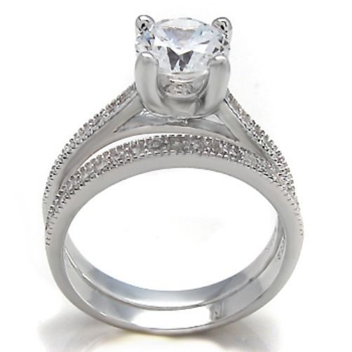 Sterling Silver Wedding set size 8 CZ Round cut Engagement Ring Bridal New w78