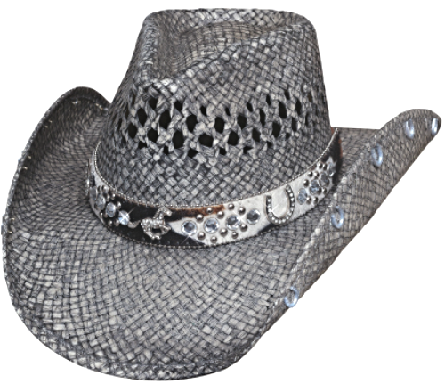 Bullhide Facing Fears Raffia Straw Cowgirl Hat Vented Crown Horse Concho Gray