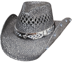 Bullhide Facing Fears Raffia Straw Cowgirl Hat Vented Crown Horse Concho Gray - $78.00