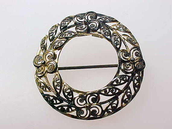 Vintage ALICE CAVINESS Sterling Silver WREATH Brooch Pin - made in GERMANY