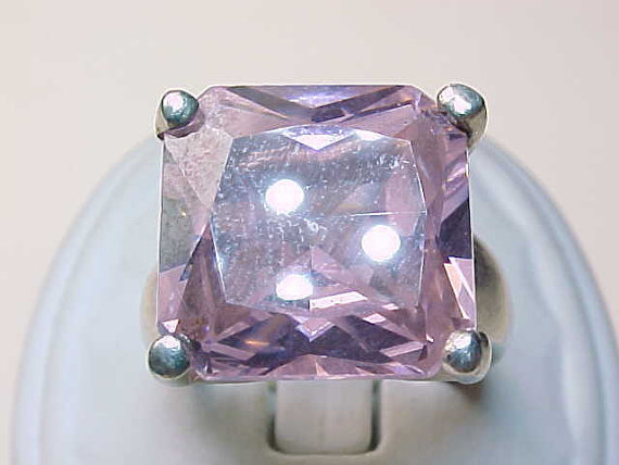 Vintage STERLING Ring with HUGE Pink Princess Cut Cubic Zirconia - Size 6 3/4