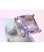 Vintage STERLING Ring with HUGE Pink Princess Cut Cubic Zirconia - Size ... - $60.00