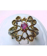 Vintage ROSE GOLD over STERLING Silver Ring with Genuine RUBY - Size 6  - $65.00