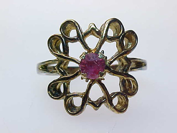 Vintage ROSE GOLD over STERLING Silver Ring with Genuine RUBY - Size 6