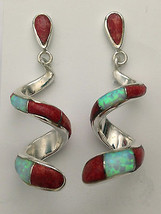 Sterling Silver Handmade Inlay Stone Teardrop Curly Post Dangle Earrings - $49.99