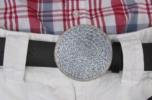 NEW WOMEN SILVER METAL WESTERN BELT BUCKLE ROUND SHAPE LIGHT BLUE RHINESTONES