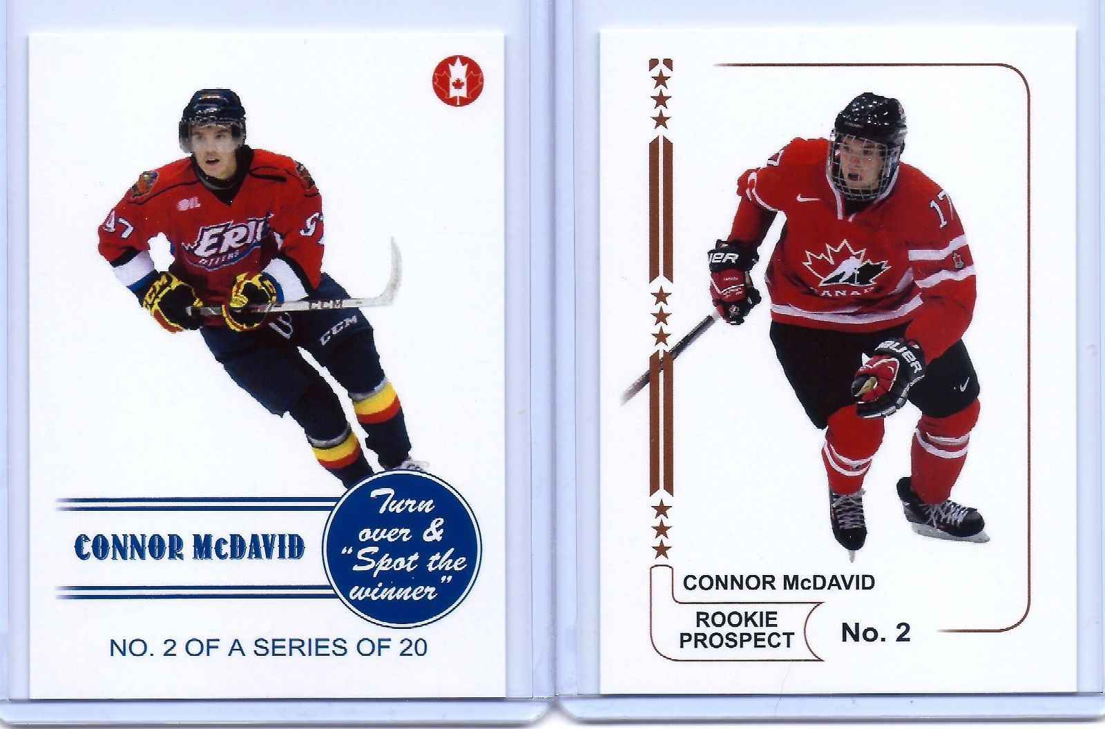 """CONNOR McDAVID 2014 TEAM CANADA """"1ST EVER PRINTED"""" 2 CARD ROOKIE CARD LOT!!!"""