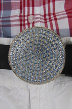 New Women Men Silver Metal Western Belt Buckle Large Light Blue Rhinestones - $12.73