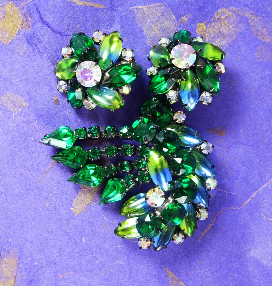 Statement demi Parure BRooch earrings Long tassels Givre RHINESTONE long navette