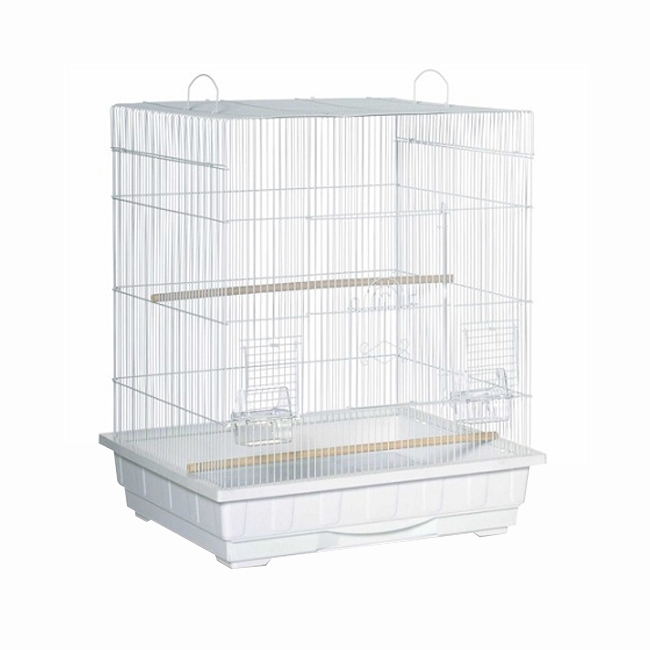 Prevue Hendryx Square Roof Parakeet Cage - White 961-PP-25212-W