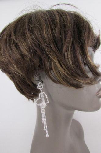 New Women Mini Heart Long Silver Metal Chains Dangle Fashion Earrings Set Dressy