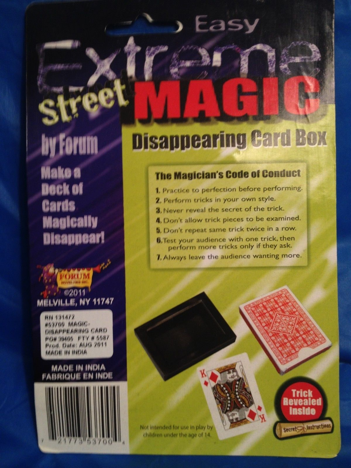 Extreme Street Magic:  Disappearing Card Deck - Box of Cards Vanish in Frame!