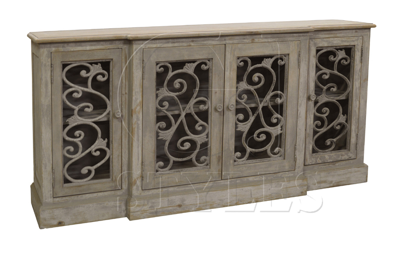 Gorgeous Gray Sideboard/buffet with Iron Fretwork Doors.
