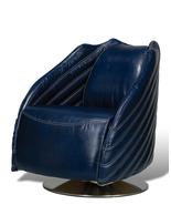 Chauteau Blue Formula One Leather Swivel Steel Modern Chair - $1,695.00