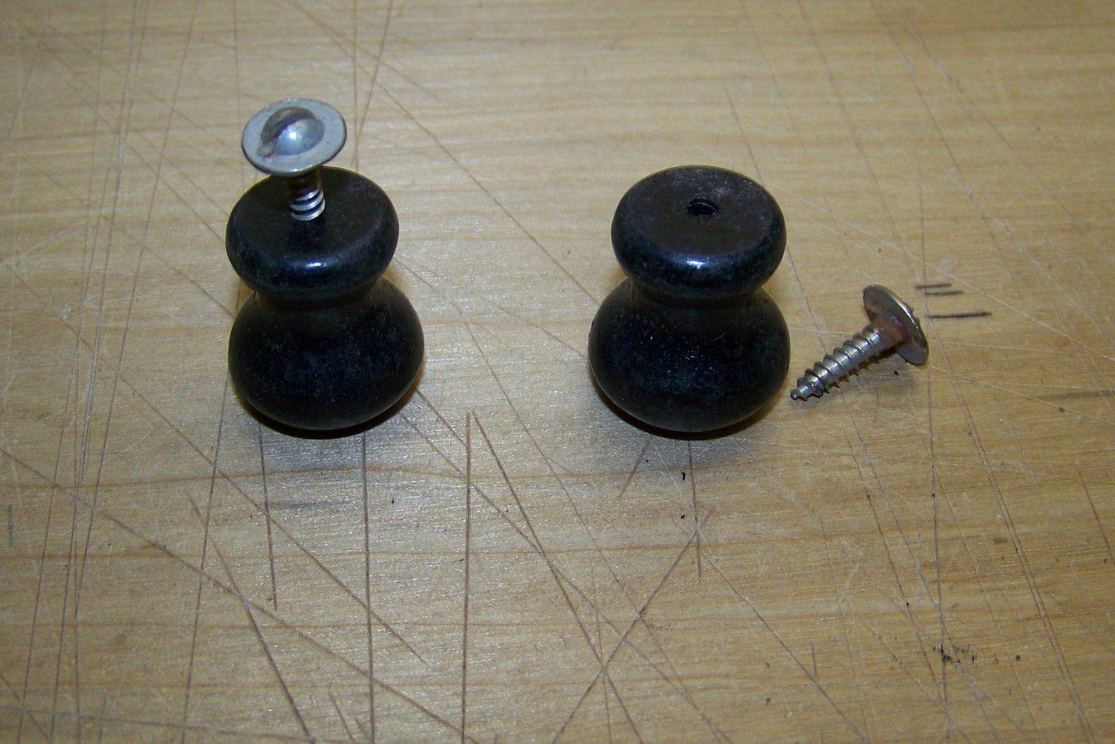 "Antique drawer cabinet door wood black ebonized 7/8"" knob matched pair"