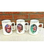 Set 3 Coca Cola Santa Gold Trim Mugs 1996 Collector Edition Christmas Cups - $34.30