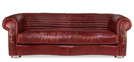 Kara Royal Rouge Equestrian Style Top Grain Leather Sofa. - $3,995.00