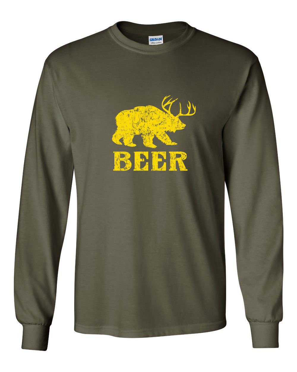 185 Beer Long Sleeve Shirt bear deer party animal lover vintage ALL SIZES/COLORS
