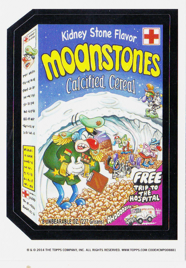 2014 WACKY PACKAGES OLD SCHOOL 5th SERIES *MOANSTONES CEREAL* STICKER WHITE BACK