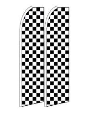 Black  Checkers  King Size Polyester Swooper Flag pk of 2