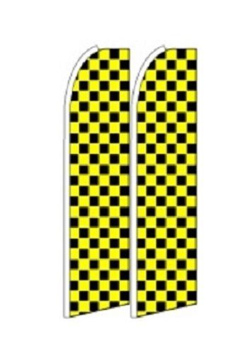 Yellow Black Checkers  King Size Polyester Swooper Flag pk of 2
