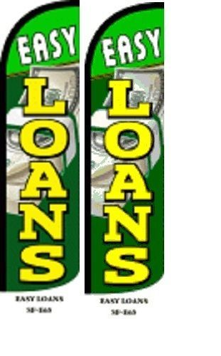 Easy Loans  King Size Windless 38 x 138 in polyester Swooper Flag  pk of 2