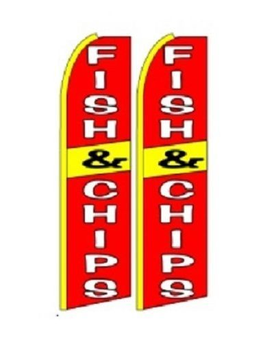 Fish & Chips  King Size Polyester Swooper Flag pk of 2