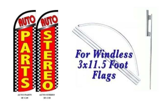 Auto Parts, Auto Stereo Windless  Swooper Flag With Complete Kit