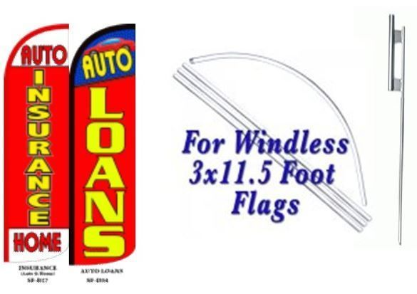 Auto Insurance, Auto Loan Windless  Swooper Flag With Complete Kit