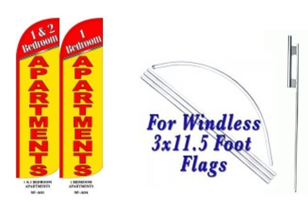 1 and 2 Bedroom Apartment Windless  Swooper Flag With Complete Kit