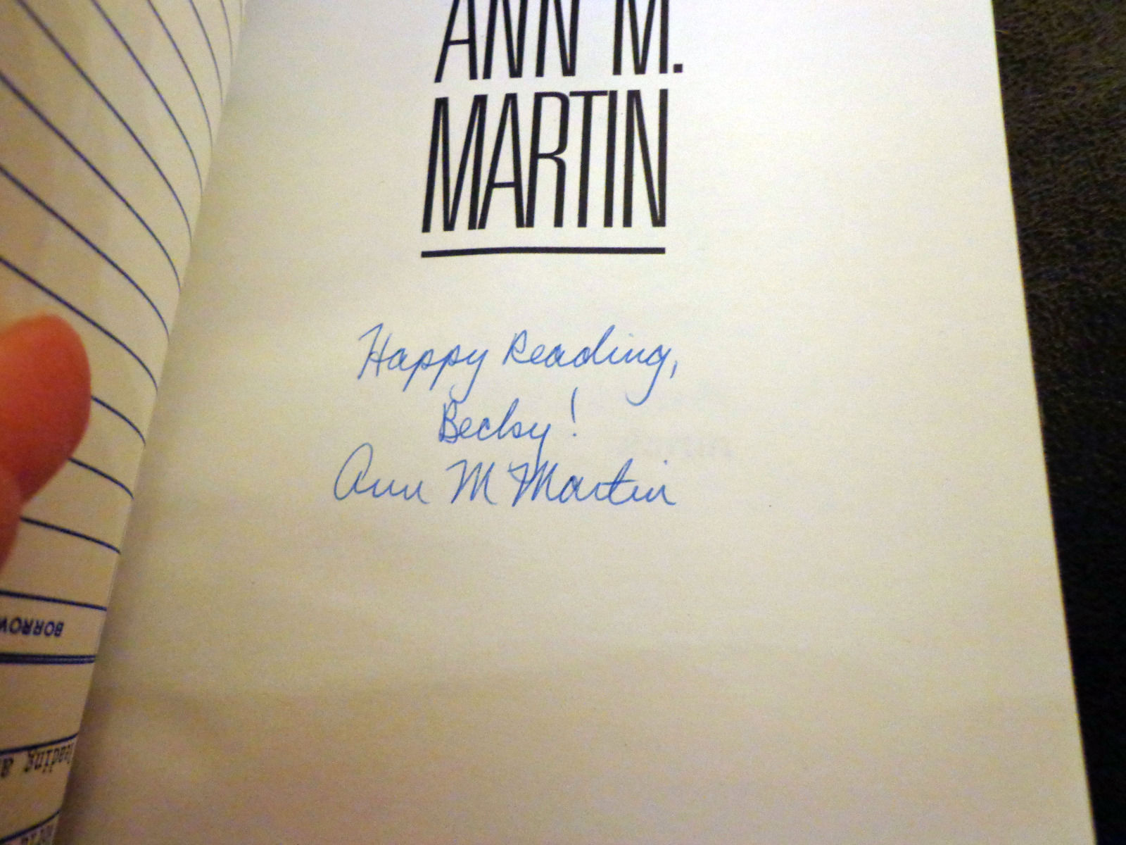 Autographed Biography Ann M. Martin Author of the BabySitters Club (BSC)