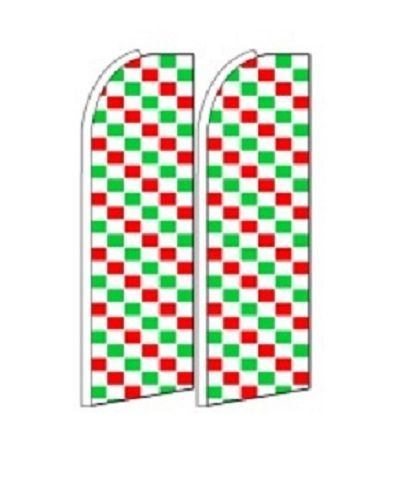 Red Green Checkers   King Size Polyester Swooper Flag pk of 2
