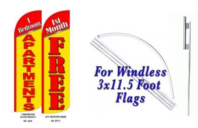 1 Bedroom Apartment First month free Windless  Swooper Flag With Complete Kit