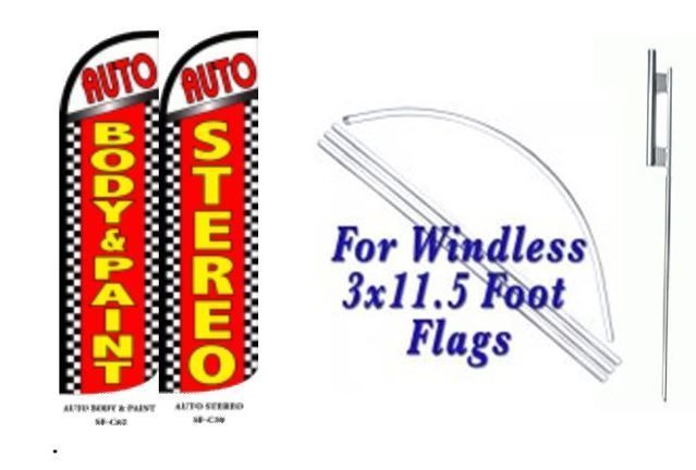 Auto Body & paint, Auto Stereo Windless  Swooper Flag With Complete Kit